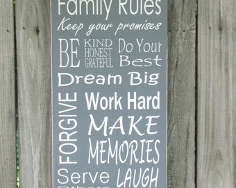Family Rules Wood Sign Inspirational Wall Art Family Wooden Sign Hand Painted Word Art