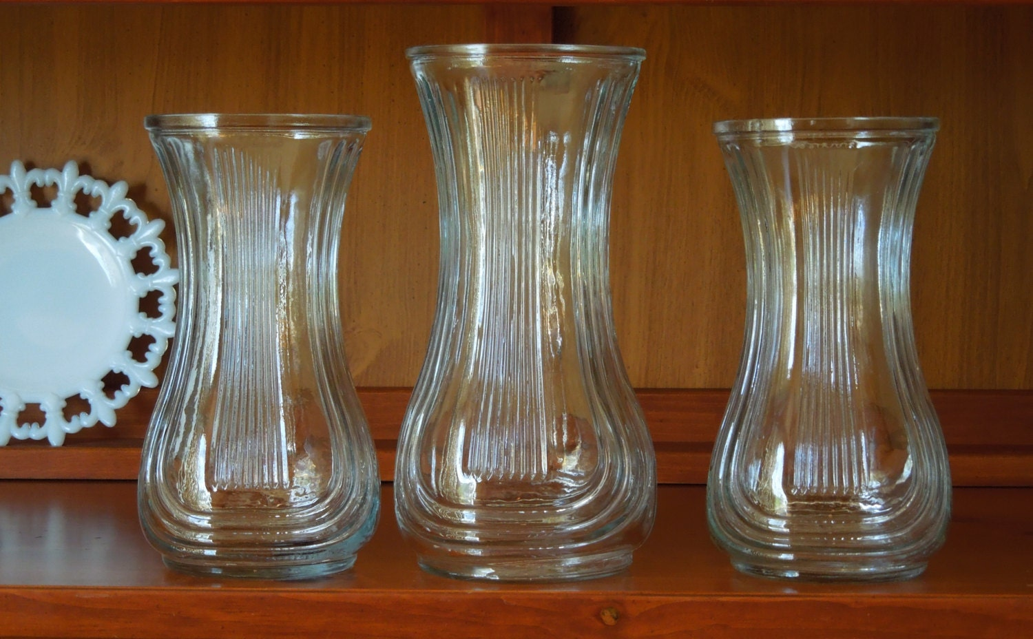 3 hoosier glass vases large clear glass by carolscuriosities. Black Bedroom Furniture Sets. Home Design Ideas