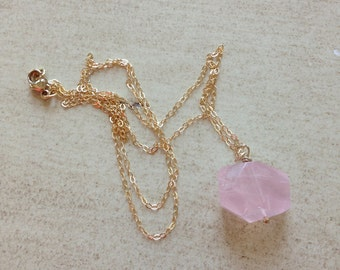 """Rose Quartz Gold Filled 24"""" Necklace"""