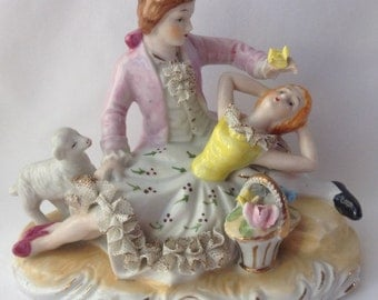 Unmarked Lord and Lady Colonial Figurine in Dresden Style