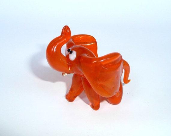 Art Glass Elephant Figurine Glass Figurine By Weareluckyshop