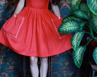 Cherry Red High Waist Dress with GIANT POCKETS! ~Size XS to Small