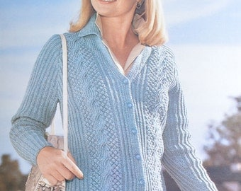 Womens cable jacket vintage knitting pattern cardigan cable pdf INSTANT download pattern only 34 36 38 40 42 inches