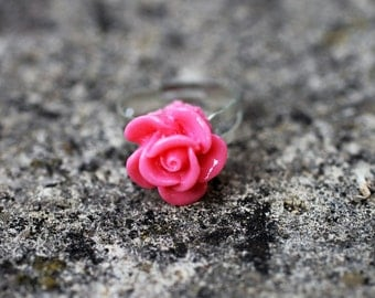 Pink Rose Flower Adjustable Ring