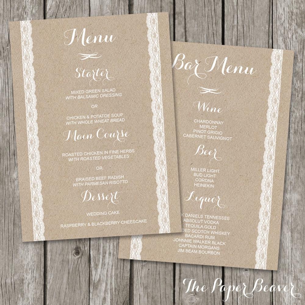 Wedding Menu – Printable Bar Menu Template – Kraft Paper Wedding ...