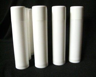50 White Lip Balm Tubes with caps, lip balm tubes, lip balm supplies, packaging, containers