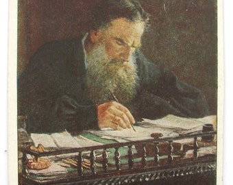 Leo Tolstoy, Portrait of L. N. Tolstoy by N. N. Gay, Unused Postcard, Soviet Vintage Postcard, 1937, 1930s, 30s