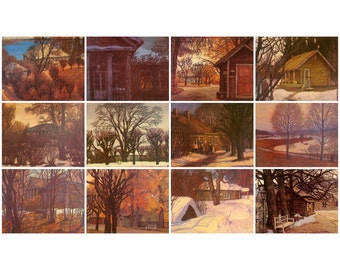 Mikhaylovskoye Museum Reserve, Set of 12 Unused Postcards, Russian painting, Art, Soviet Union Vintage Postcard, USSR, Print, 1981