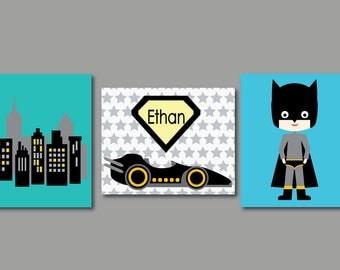 Superhero Art Print, Boys Art Print, Monogram Name Print, 574