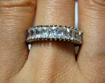 New Cz Sterling silver thick band ring, size 8.5