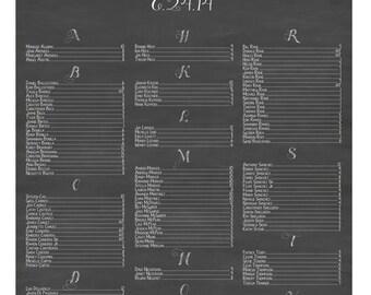 Modern Chalkboard Wedding Seating Chart {Digital File} Wedding Seating Chart  |  Printable Seating Plan Poster, Seating Board