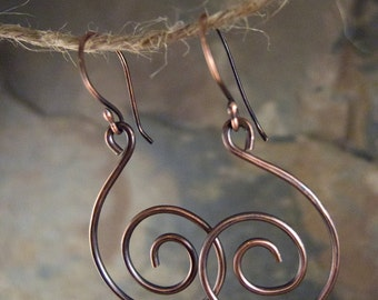 Geometric Earrings, Spiral Hoop Earrings, Geometric Jewelry, Alexander Calder, Antiqued Copper Wire , Rustic Earrings, Copper Hoop Earrings