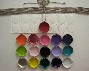 Create your own bottle cap necklace kit.  Different colors and quantities available.