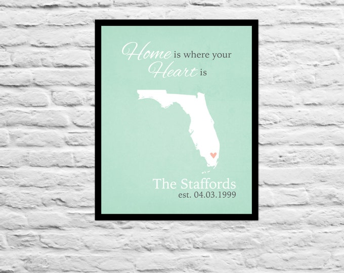 Home is Where Your Heart is, Anniversary, Wedding, Housewarming, Custom Gift Family Name Decor, Friend Personalized Florida Art Print Map