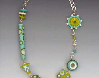 Tribal Necklace Lime Turquoise & Others: handmade glass lampwork beads with sterling silver components