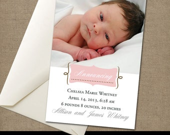 New Birth Announcement Instant Download To Print Yourself Customized Colors Pink Mint Green New Baby Girl Baby Boy New Birth