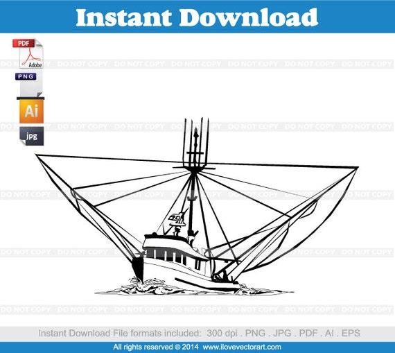 Art Line Yacht Design : Shrimp boat clipart commercial free use vector graphics