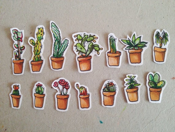 PREORDER: Potted friends stickers/ cactus stickers/ plant stickers