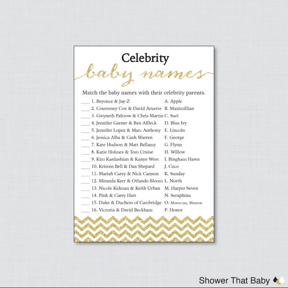 celebrity baby shower game printable celebrity baby name match in