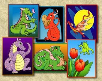Dragons art magnets