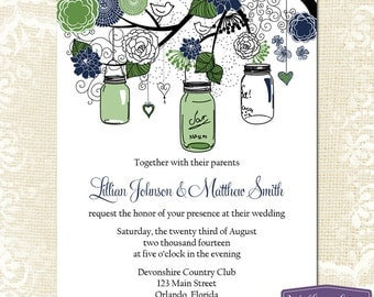 Mason Jar Wedding Invitation - Green and Navy Blue Mason Jar Wedding Invite - Rustic Wedding Invitation Wedding - 6026 PRINTABLE