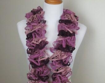 Ruffle Scarf, Plum Purple/Rose Pink, Women's Hand Knit Scarf, Knit Scarf