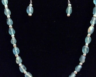 "28.5"" Pearlized Blue Beaded Necklace & Earrings Set"