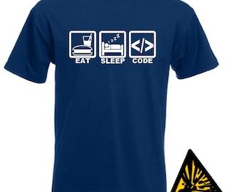 Eat Sleep Code T-Shirt Joke Funny Tshirt Tee Shirt Gift Computer Software Programmer