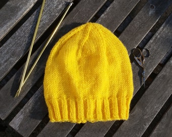 Knitted Solid Banana Yellow Beanie