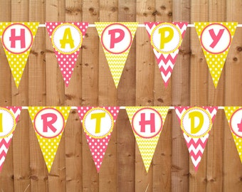 Pink Lemonade Happy Birthday Banner- INSTANT DOWNLOAD - Printable Party Decorations