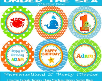 Under the Sea Digital Cucpake Toppers - Printable Birthday Party Decorations party circles