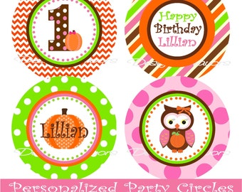 Fall Owl Digital Cucpake Toppers - Printable Birthday Party Decorations party circles