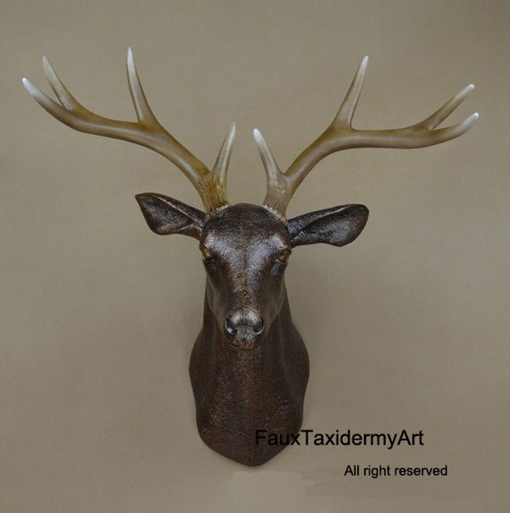 Plastic Deer Head Wall Decor : X large antique bronze faux deer head resin by