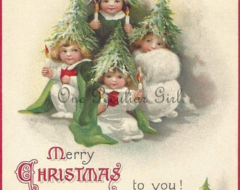 Vintage Christmas Postcard, Vintage Postcard, Little Children Dressed as Christmas Trees, Christmas Image, Postcard Image, INSTANT download