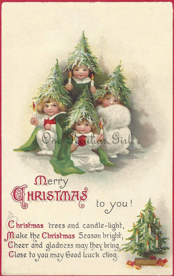 Antique Christmas postcard of Little Children dressed as Santa Claus in a white suits by a green pine tree INSTANT download