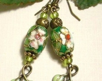 Green Cloisonne Earrings