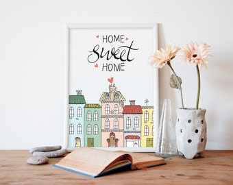 home sweet home, wall art, printable art, girls wall art, girls art, nursery art, nursery wall art, kids wall art, kids art, kids room, boys