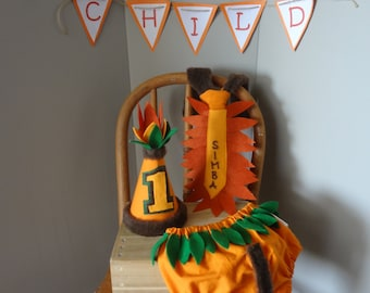 First Birthday Cake Smash Outfit Jungle and Lion Themed Orange Brown Green Leaf Neck Tie Birthday Hat Diaper Cover for Baby Boy