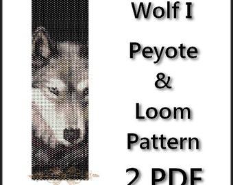 Wolf I Peyote and Loom Pattern Bracelets Loom