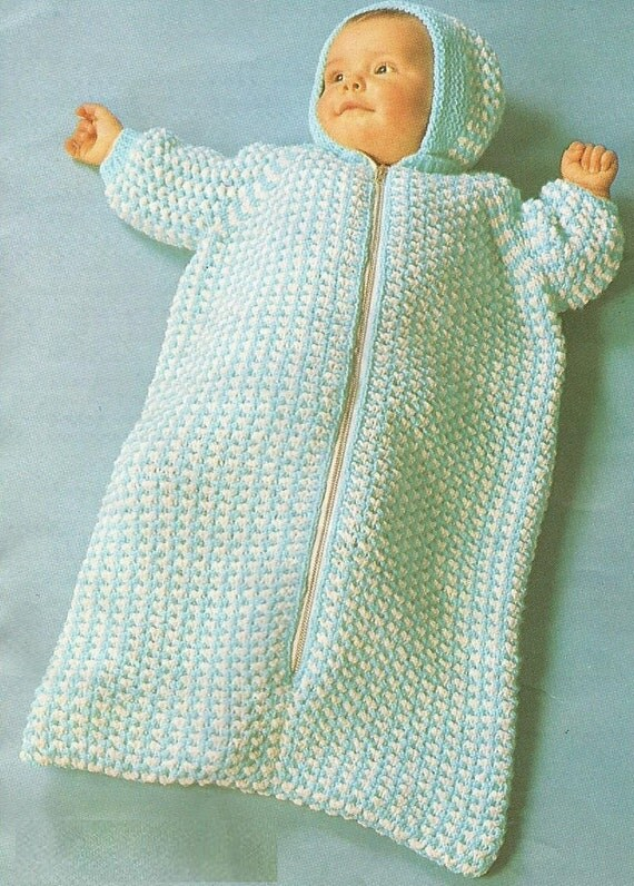 Knitting Pattern Sleeping Bag : Instant Download PDF Vintage Sleeping Bag Knitting Pattern