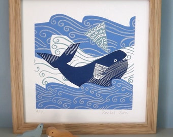 Whale in the Waves. Screen Print