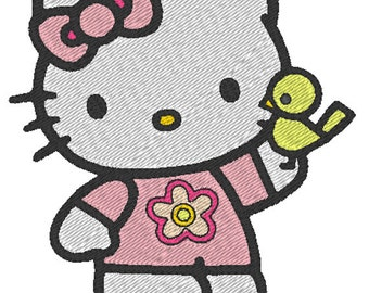 Hello Kitty and Bird - embroidery design