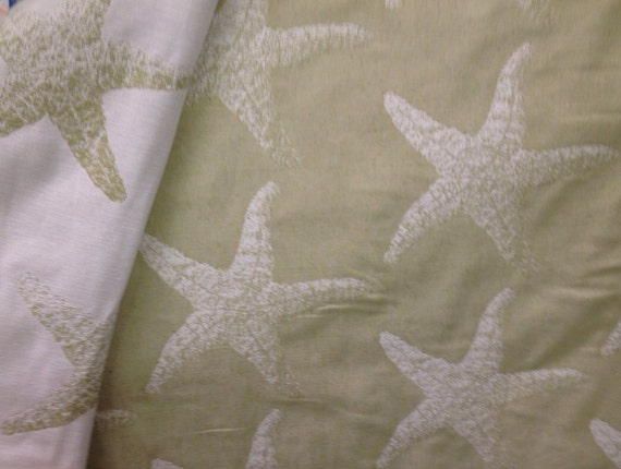 Reversible Starfish Upholstery Beach Decor Fabric Coastal
