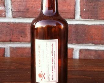Old and rare Oxalic Acid poison bottle