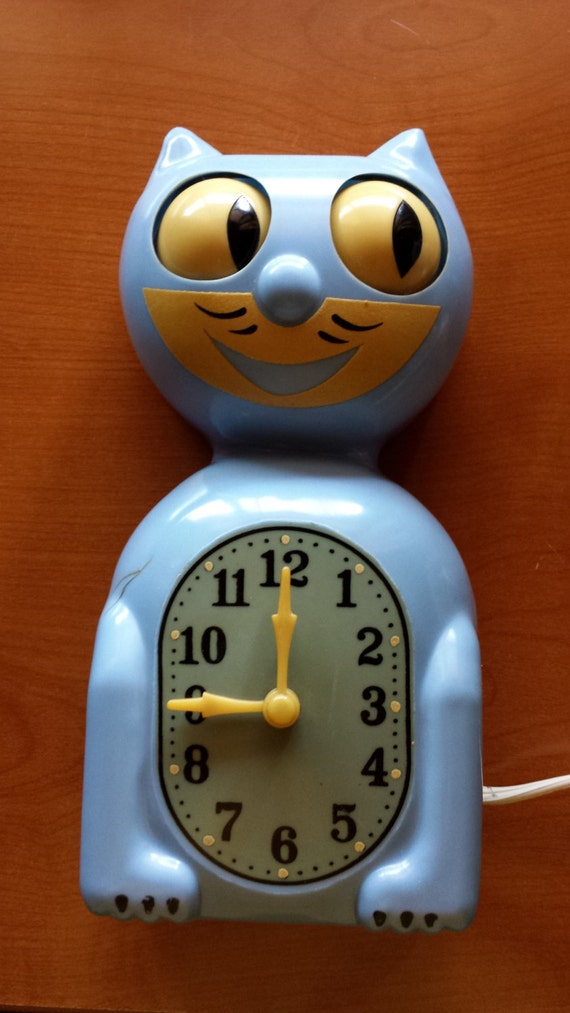 Early 40s kit cat clock rare blue color on sale - Kitty cat clock ...