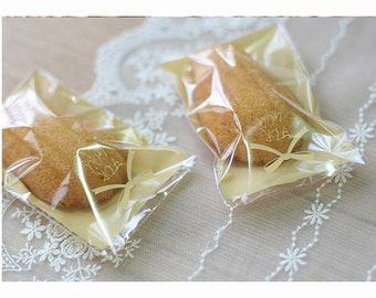 For You Ribbon Cookie Bags - Yellow (20 pcs / 7cm x 10cm) Candy Bags Macaron Clear Bags Resealable Self Adhesive Plastic Bags P0063