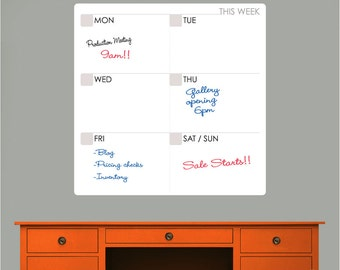 M O D WEEKLY CALENDAR Dry Erase decal - Erasable surface wall decals by GraphicsMesh