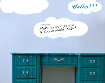 CARTOON CLOUDS MEMO - Dry Erase - Erasable surface wall decals by GraphicsMesh