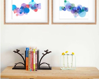 Set of 2 Original Abstract Watercolor Painting Art Prints, Home Decor Art, Wall Art, Art with Circles, House Warming Gift, Modern Art