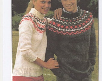 Matching His & Hers Knitted Sweater, His and Hers Sweaters, Matching Sweaters. Knitting Pattern Only.